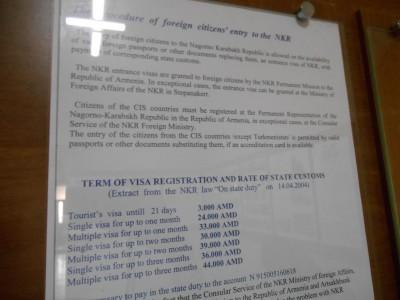 stepanakert foreign affairs visa application