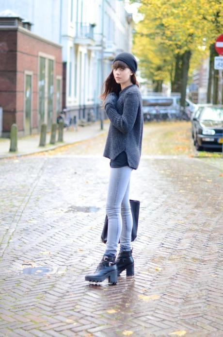 outfit lace up booties skinny diesel jeans grey