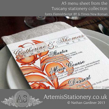 Tuscany floral wedding menu with stylised roses in an autumn color scheme