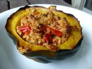 Cider tempeh stuffed acorn squash