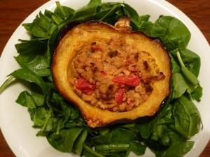 Apple cider tempeh vegan stuffed squash for fall with spinach