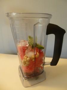 Vitamix watermelon basil soup - pre-blending