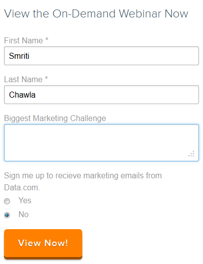 Clear form headline by Hubspot