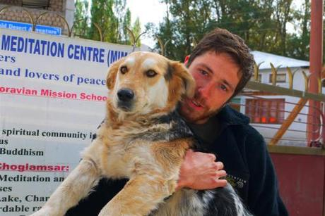Niels holds onto Rumi who  desperately wanted to join us on our Chamsar kangri climb. He certainly is a residential boy these days and loved to the max.