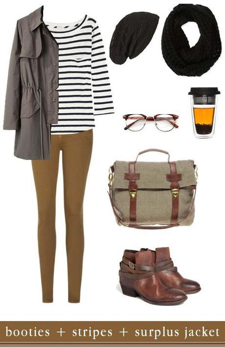 comfy winter layers: booties + stripes + surplus jacket.