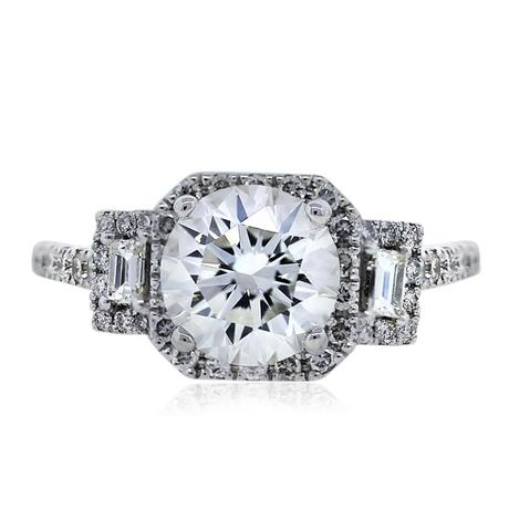 Vintage Style 14k White Gold 1.31ct Round Diamond Engagement Ring