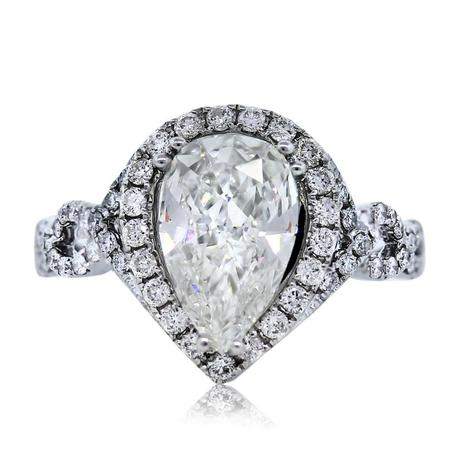 GIA Certified White Gold Halo Set Pear Shape Diamond Engagement Ring