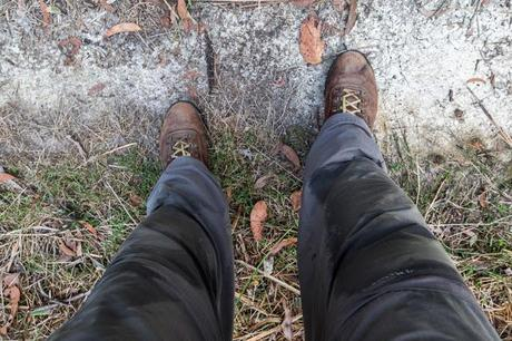 sweat on trousers hiking