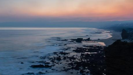 smoke haze over ocean sunset aireys inlet