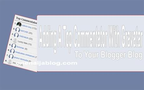 top commentator with gravatar widget for blogger blog
