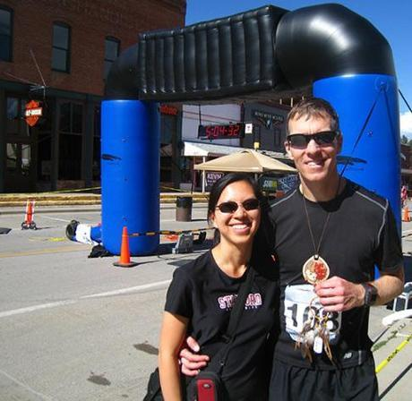 Mike Sohaskey and Katie at finish line of Run Crazy Horse Marathon 2011