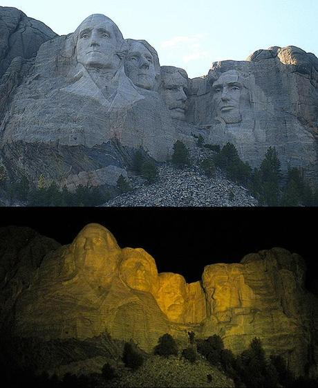 Mt Rushmore - day and night view