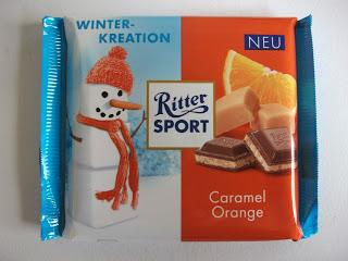 Christmas editition of Ritter Sport containing a caramel and orange flavor cream filling
