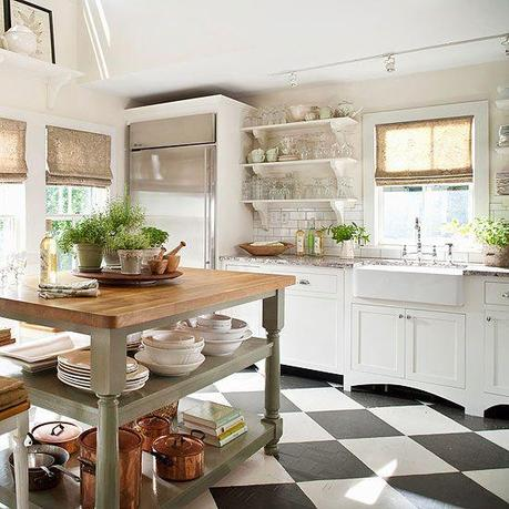 Bold patterned tile makes a statement in this light and airy kitchen. See more ideas for kitchen floors: http://www.bhg.com/kitchen/flooring/fresh-ideas-for-kitchen-floors/?socsrc=bhgpin042413patterntile=4