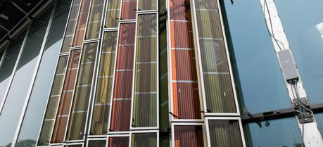 A view of the solar window form outside the SwissTech Convention Center.