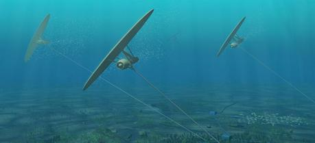 A tidal energy device developed by Swedish company Minesto, named Deep Green, is based on the use of tethered undersea kites.