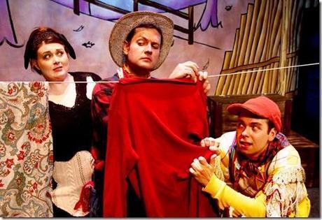 Liz Bollar, Derek Czaplewski and Nathaniel Niemi in Click, Clack, BOO at Lifeline Theatre