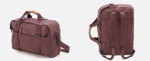 This bag is the Weekender by QWSTION. It can be turned into a backpack and contains a 17-inch Neoprene laptop sleeve.