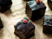 Chocolate Gingerbread Petit Fours with Blackberry Buttercream