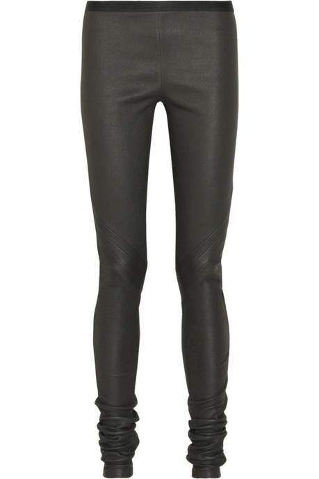 RICK OWENS Paneled stretch-leather leggings €1,215