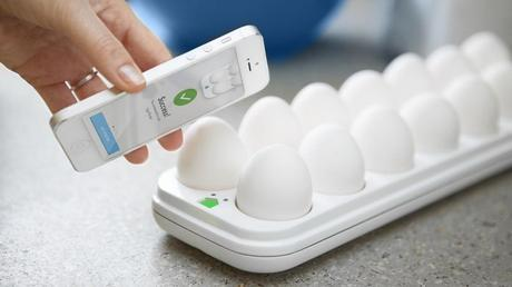 The Egg Minder lets you know the quantity and quality of the eggs in your fridge via your phone.