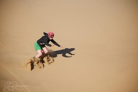 Laurel getting ready to fall into the Namib Desert.
