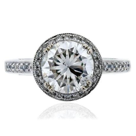 14k White Gold GIA Certified Diamond Halo Engagement Ring