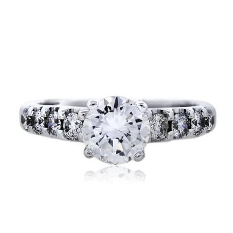 14k White Gold Prong Set Round Diamond Engagement Ring