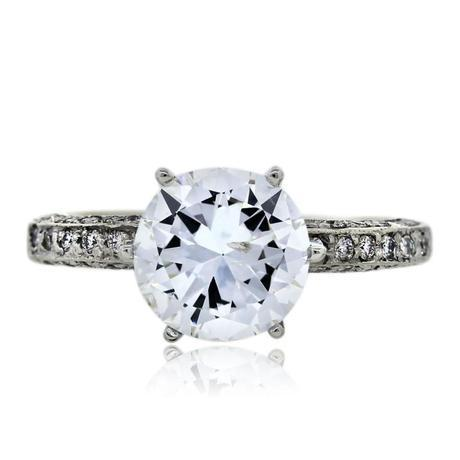 14k White Gold Pave Set Solitaire Engagement Ring