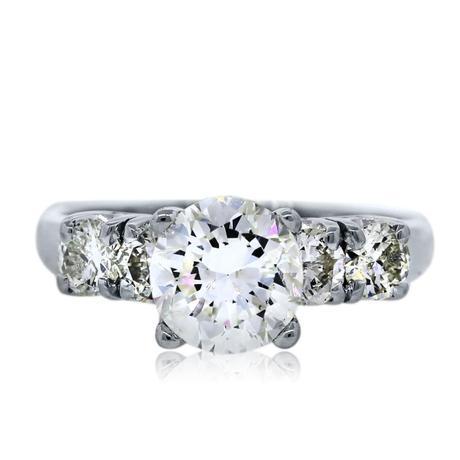 18k White Gold .96 Carat Round Diamond Engagement Ring