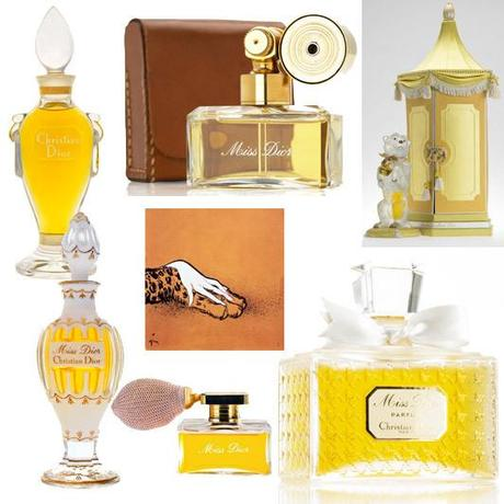 lockwise from L-R: The first Miss Dior fragrance, 1947; Miss Dior, 1948; Limited edition J'appartiens à Miss Dior (I belong to Miss Dior) fragrance, 1952; Miss Dior, 1949; Miss Dior, 1948; illustration by René Gruau, the first advertisement produced for the Miss Dior perfume in 1949; Miss Dior amphora in Baccarat crystal, 1951. Photo: Philippe Schlienger, Christian Dior Parfums, SARL René Gruau