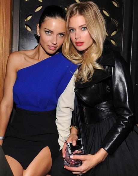 Adrian Lima (L) and Doutzen Kroes attend the 2013 Victoria's Secret Fashion after party at TAO Downtown