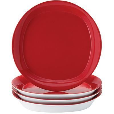 Rachael Ray Round and Square Collection 4-Piece Dinner Plate Set - Red