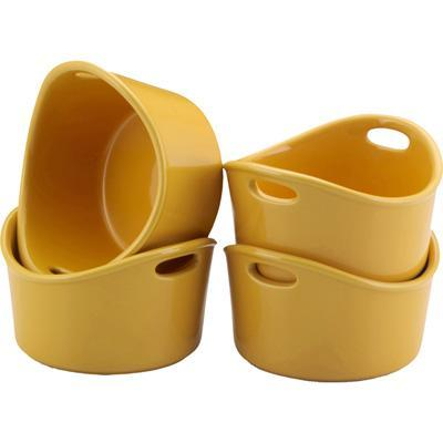 Rachael Ray Set of 4 Stoneware 10 Oz Ramekins Yellow
