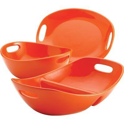 Rachael Ray Stoneware 3-Piece Serveware Set - Orange
