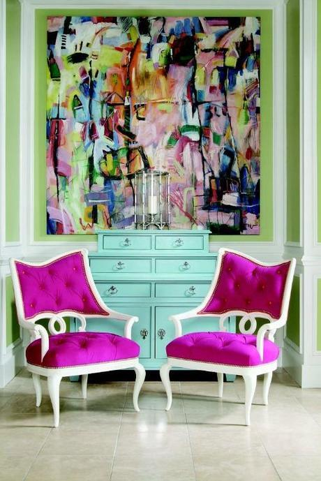 |Residential  interiors that are inspiring with its color scheme|pink armchairs are the perfect colors against the abstract multi-colored painting