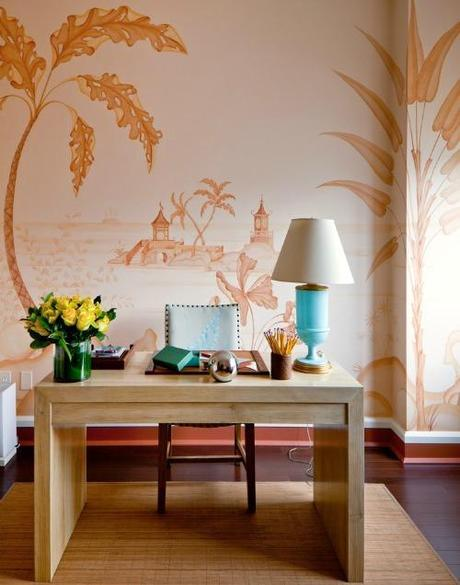 Simone Design Blog|Residential  interiors that are inspiring with its color scheme|chinoiserie wall in a home office