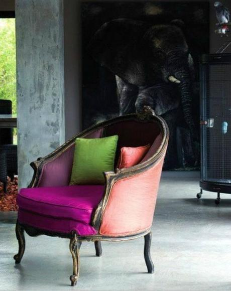 Simone Design Blog|Residential  interiors that are inspiring with its color scheme|multi-colored armchair with complementing pillows