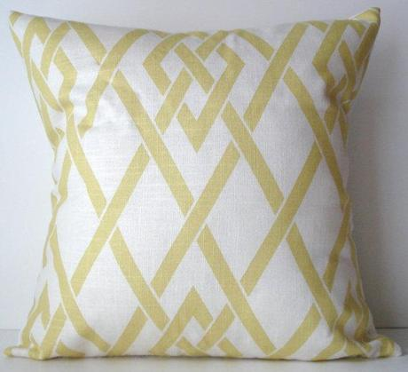 New 18x18 inch Designer Handmade Pillow Case in yellow and white lattice