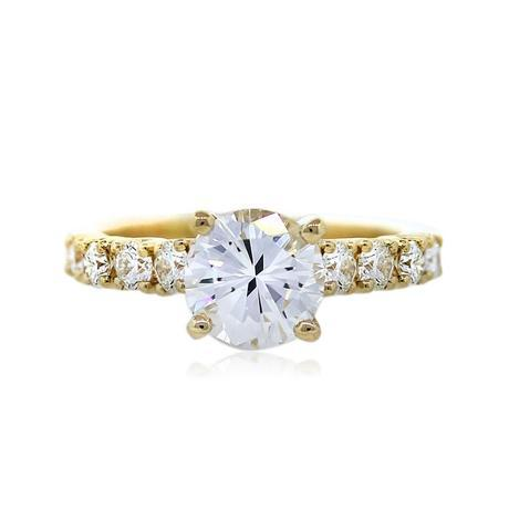 GIA Certified round diamond engagement ring with yellow gold setting