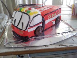 Tremendous Making A Fire Truck Birthday Cake Paperblog Funny Birthday Cards Online Elaedamsfinfo