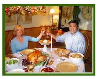 Thanksgiving couple toasting