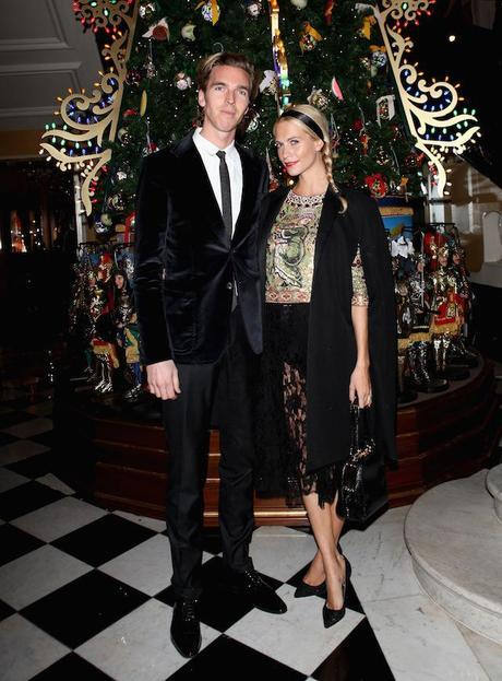 James Cook and Poppy Delevigne attend Claridge's Christmas Tree By Dolce & Gabbana launch party at Claridge's Hotel on November 26, 2013 in London, England.  (Photo by David M. Benett/Getty Images for Claridge's)