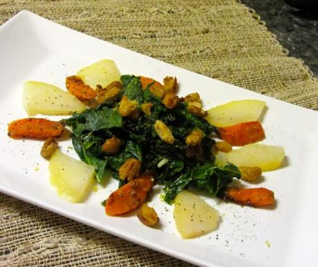 ... carrots, pear slices, and roasted beans. Garnish with lemon zest and