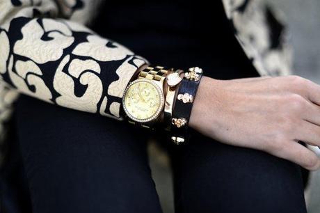 Gold Skulls Leather Bracelet by Lowlita & You