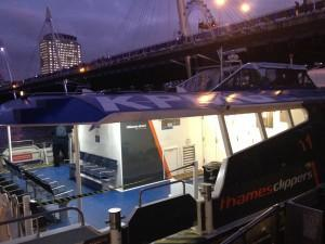 The Thames Clipper at early evening - on the way to London's O2