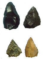 280,000 year old thrown spear tips (top) and 500,000 year old thrusting spear tips (bottom)