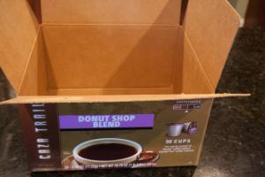 Here is my empty HUGE box of Caza Trail's Donut Shop Blend K-cups. It went too quickly.
