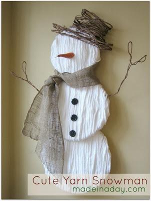 Snowman made with yarn