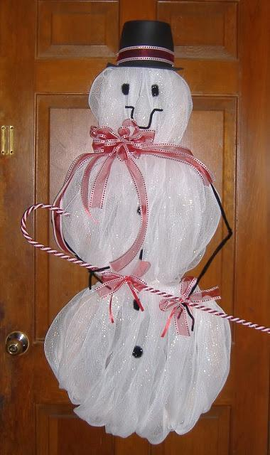 Snowman made with decorative mesh